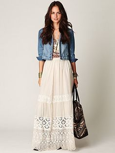 pair a cute cropped denim jacket with a boho style maxi long dresses, maxi dresses, style, outfit, long skirts, jean jackets, casual looks, lace maxi, maxi skirts