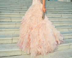 Pink gown on steps