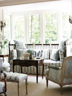 great furniture arrangement. i particularly love the tea table. imagine it all in cream tones...