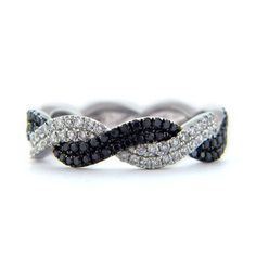 Double Twisted Black and White Diamond Band--so beautiful and unique