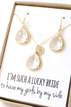Clear Crystal Necklace and Earrings Set - Clear Bridesmaid Set - Bridesmaid Jewelry Set - Clear Crystal Earrings - Gold Necklace ENR1