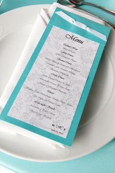 #Tiffany Blue Wedding ... #blue wedding table ... Tiffany blue Menu  www.egovolo.com