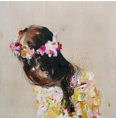 brush strokes, flower crowns, color, cloak, paint