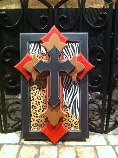 Stacked Crosses on panel with zebra and by SimplyAdorableGifts, $40.00