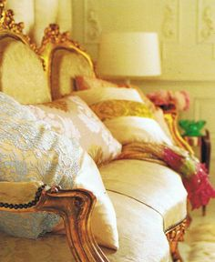 Gilded French Settee  - Pillows