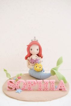 Handmade Little Mermaid Figurine (for birthday cake topper or a gift) - Princess with a crown