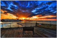 a relaxed sunset moment, the bench is waiting for you.... Tel-Aviv, Israel