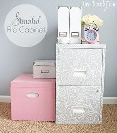 Stenciled File Cabinet http://www.twotwentyone.net/2012/10/royal-design-studio-stencil-giveaway/