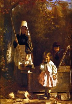 The Athenaeum - At the Well (John George Brown) Note the woman's sunbonnet and apron for functional protection.