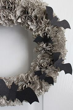 Book Page Wreath With Bats