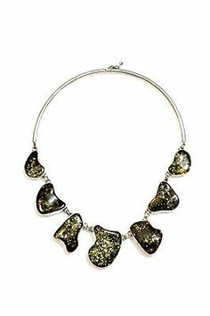 Vintage 925 Sterling Silver & Baltic Amber Modernistic Abstract Necklace