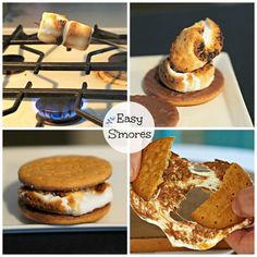 Easy S'mores are perfect made with chocolate dipped Digestive Bisquits (cookies). One less ingredient make this simple treat even easier to make. www.simplysated.com