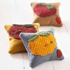 felted wool pincushions with tomato shape attached