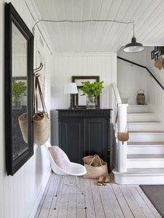 interior, stair, painted furniture, floor, black white, foyer, hallway, cottage style, entryway