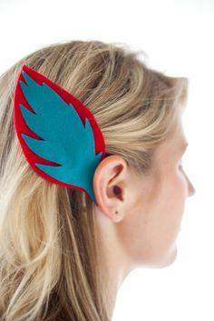 felt feather hair clip