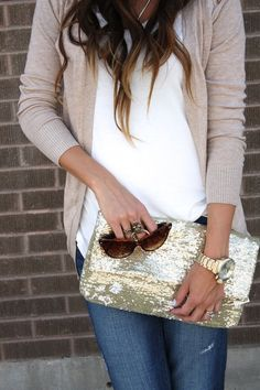 fashion, purs, sequin, style, bag, white shirts, clutch, summer nights, casual outfits