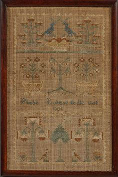 Phebe Lukens nedle Work 1806, Plumstead Township, Bucks County, Pennsylvania