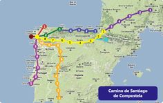 Different entry points to walk the Camino de Santiago! camino de santiago map, backpacks, camino santiago, dream, camino del, 4ab spainimperfectchildhood, place, walk, el camino