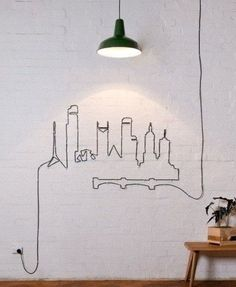 How to use extra extension cord...The outline of the city! Love this!