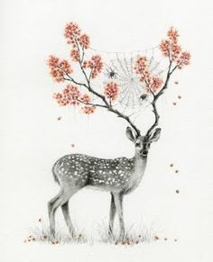 interior design, courtney brim, illustrations, trees, horn, tree art, tattoo, colored pencils, deer