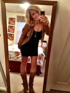 LBD with brown leather jacket & boots!