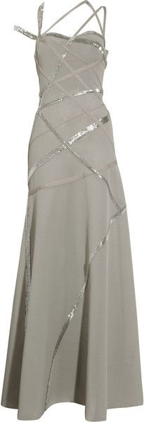 Favourite pin of the day   Hervè Lèger  Silver Moon & comet shimmer   Beaded Multistrap Gown
