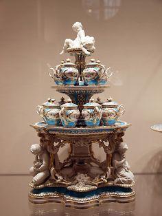 Baroque period porcelain tea service- Sisi Museum, Vienna. Don't drop it !