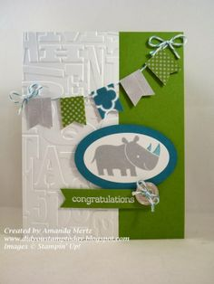 Did You Stamp Today?: Welcome Baby Colton!  Uses: Zoo Babies Stamp set, oval framelits, Letter Press embossing folder, banner punch