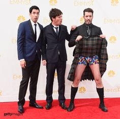TV personalities Drew Scott, J.D. Scott and Jonathan Silver Scott attend the 66th Annual Primetime Emmy Awards held at Nokia Theatre L.A. Live on August 25, 2014 in Los Angeles, California.  (Photo by Frazer Harrison/Getty Images)