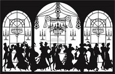 Victorian party with silhouettes of dancing couples