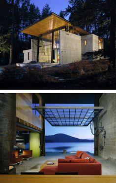 Chicken Point Cabin: a little box with a big window that opens to the surrounding landscape. The cabin's big window-wall (30 feet by 20 feet) opens the entire living space to the forest and lake.