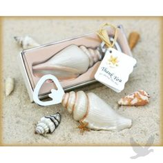 "Sea Shell Bottle Opener with ""thank you"" tag!"