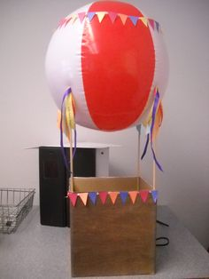 Hot Air Balloon Valentine Box.  Could spray paint the ball to make a different design for the balloon.