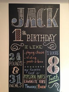 1st birthday hand-drawn chalkboard display with stats and tidbits. DIY - party inspiration
