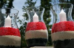 Fourth Of July Table Decor ~ Fill Vase With Layered Red, Blue, White Rice (Red & Blue Dyed Rice); Place Candle Inside