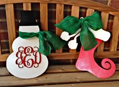Great Christmas ideas--add a word or monogram to this wood snowman and stocking.  www.inscribedmonogram.etsy.com