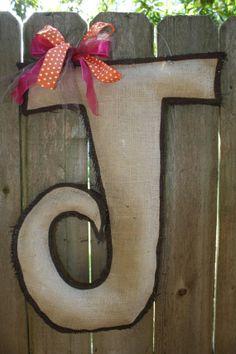 Letter J burlap door hanger by eop1015 on Etsy, $40.00