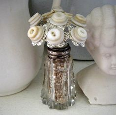 Button Bouquet in Vintage Salt Shaker