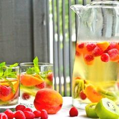 White wine sangria with peaches and kiwi.          http://VIPsAccess.com/luxury/hotel/tickets-package/f1-monaco-grand-prix-yacht-cruise.html