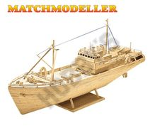 """This Matchmaker Trawler includes everything needed to make this matchstick model kit.  Included are all the pre-cut card formers along with the glue, matchticks and full instructions. These instructions will guide you through each stage of the construction until you finally achieve the finished product.  We would highly recommend this Matchmaker Trawler .    Approx finished length 610mm (24"""")"""