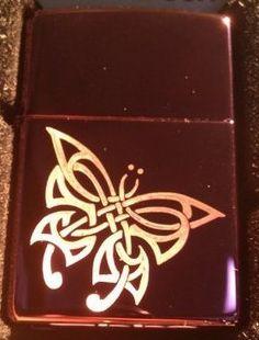 Vector KGM Thunderbird Custom Lighter - Tribal Celtic Weave Butterfly Tattoo Logo Sparkle Purple ICE High Polish Chrome Logo High Polish Chrome Rare! by Vector. $39.95