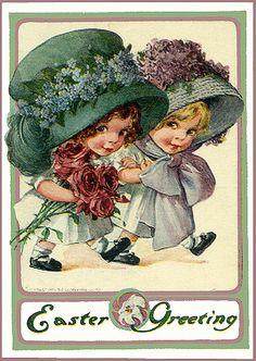 Vintage Easter Postcard--Easter Bonnets