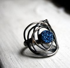 Blue Drusy Galaxy Ring Handmade Sterling by RachelPfefferDesigns, $128.00