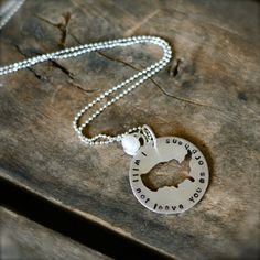 United States of America domestic foster adoption hand-stamped sterling silver necklace