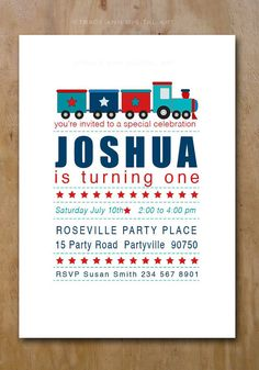 Printable Train Party Invites