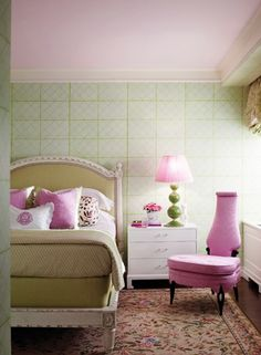 Pink and green bedroom with pink ceiling!