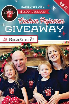 GIVEAWAY: Great Stitch Custom Pajamas {$200 Value} Enter to win a family set of 4! #Giveaway #Pajamas