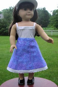 Brambleberry Cottage: You Can Make It -- A Twirly Skirt for American Girl Doll (sewing lessons for the budding young seamstress)THIS WOULD BE A GOOD SKIRT FOR A DRESS FOR KIT OR MOLLY