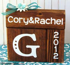 Make DIY, personalized Wedding Blocks as a Wedding gift. {ribbonsandglue.com}