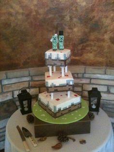 Minecraft Wedding Cake http://www.thefondantribbon.com/